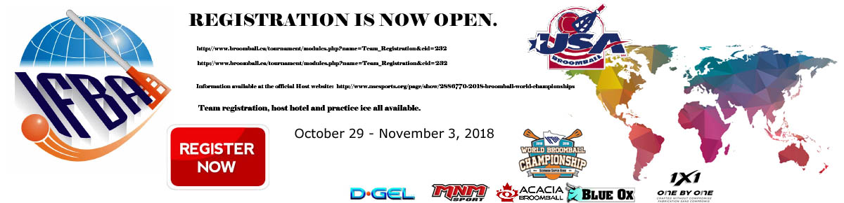 Team Registration IFBA World Broomball Championships